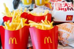 24 June 2018 - Bangkok ::french fries and burger from Mc Donald. Fastfood royalty free stock photos