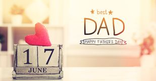 17 June Best Dad message with calendar royalty free stock photos