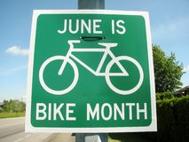 June is bike month road sing Royalty Free Stock Photos