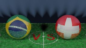 Brazil versus Switzerland. 2018 FIFA World Cup.Original 3D image. June 17, Brazil vs Switzerland 2018 FIFA World Cup.Original 3D image. Two balloons above a Royalty Free Stock Images