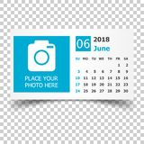 June 2018 calendar. Calendar planner design template with place. For photo. Week starts on sunday. Business vector illustration Stock Images