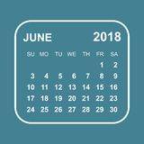 June 2018 calendar. Calendar planner design template. Week start. S on Sunday. Business vector illustration Royalty Free Stock Images