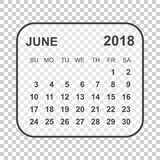 June 2018 calendar. Calendar planner design template. Week start. S on Sunday. Business vector illustration Stock Photos