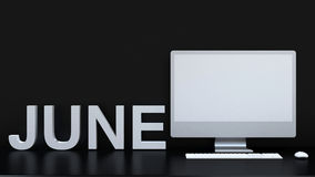 June calendar and computer background - 3D Rendering. For artwork , background , etc Royalty Free Stock Image