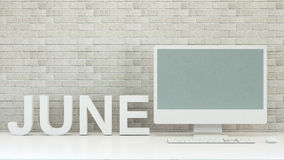 June calendar with computer and brick wall background - 3D Rende. Ring for artwork Stock Image