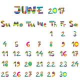 June 2017 calendar Royalty Free Stock Image