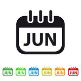 June Calendar Icon -  Colorful Vector symbol. Isolated On White Background Stock Image