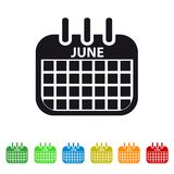 June Calendar Icon -  Colorful Vector symbol. Isolated On White Background Royalty Free Stock Image