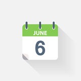 6 june calendar icon. On grey background stock illustration