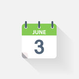 3 june calendar icon. On grey background Royalty Free Stock Images