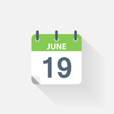 19 june calendar icon. On grey background Stock Photos