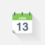 13 june calendar icon Royalty Free Stock Image