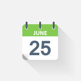 25 june calendar icon. On grey background Royalty Free Stock Photos