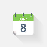 8 june calendar icon. On grey background stock illustration