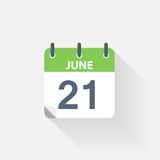 21 june calendar icon. On grey background vector illustration