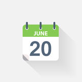 20 june calendar icon. On grey background stock illustration