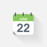 22 june calendar icon. On grey background Stock Photography