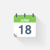 18 june calendar icon. On grey background stock illustration