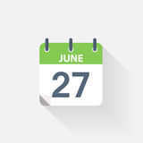 27 june calendar icon. On grey background royalty free illustration