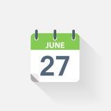 27 june calendar icon. On grey background Stock Photos