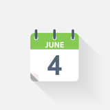 4 june calendar icon. On grey background stock illustration
