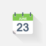23 june calendar icon. On grey background stock illustration