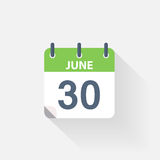30 june calendar icon. On grey background Royalty Free Stock Image