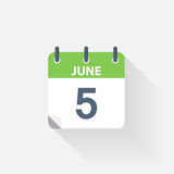 5 june calendar icon. On grey background Royalty Free Stock Photo