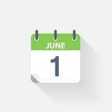 1 june calendar icon. On grey background Stock Photos