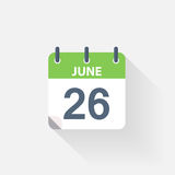 26 june calendar icon. On grey background royalty free illustration