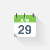 29 june calendar icon. On grey background vector illustration