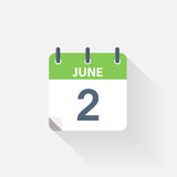 2 june calendar icon. On grey background Stock Photography