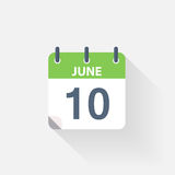 10 june calendar icon. On grey background stock illustration