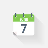 7 june calendar icon. On grey background Royalty Free Stock Image