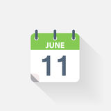 11 june calendar icon. On grey background vector illustration