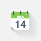 14 june calendar icon. On grey background stock illustration