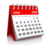 June 2018 Calendar. Isolated on White Background. 3D Illustration Stock Photo