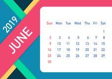 June 2019 Calendar Leaf. Calendar 2019 in flat style. A5 size. Vector illustration. June 2019 Calendar Leaf. Calendar 2019 in flat style. A5 size. Vector stock royalty free illustration
