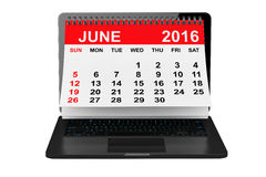 June 2016 calendar over laptop screen. 3d rendering Royalty Free Stock Photos