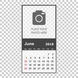 June 2018 calendar. Calendar planner design template with place. For photo. Week starts on sunday. Business vector illustration Royalty Free Stock Photos