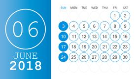 June 2018 calendar. Calendar planner design template. Week start. S on Sunday. Business vector illustration Stock Images