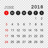 June 2018 calendar. Calendar planner design template. Week start. S on Sunday. Business vector illustration Royalty Free Stock Photo