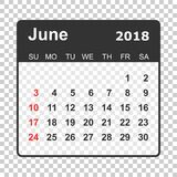 June 2018 calendar. Calendar planner design template. Week start. S on Sunday. Business vector illustration Royalty Free Stock Image