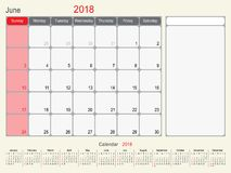 June 2018 Calendar Planner Design stock illustration