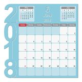 June 2018 Calendar Planner Design. 2018 Calendar Planner Design, June 2018 year vector calendar design Royalty Free Stock Photography