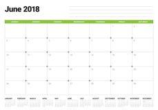 June 2018 calendar planner vector illustration Royalty Free Stock Photography