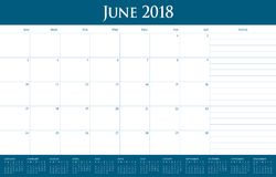 June 2018 calendar planner vector illustration Royalty Free Stock Image
