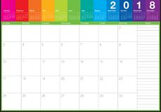 June 2018 calendar planner vector illustration Stock Images