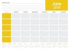 June 2018 calendar planner vector illustration Stock Photos
