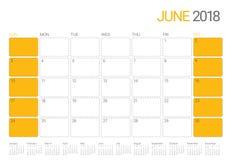 June 2018 calendar planner vector illustration Royalty Free Stock Images